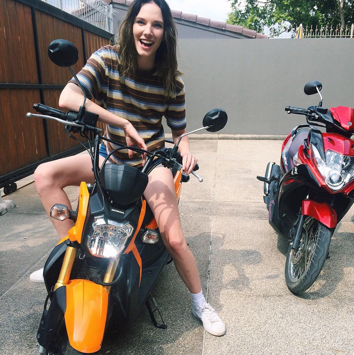 My first time learning to ride a scooter in Bang Saray, Thailand!