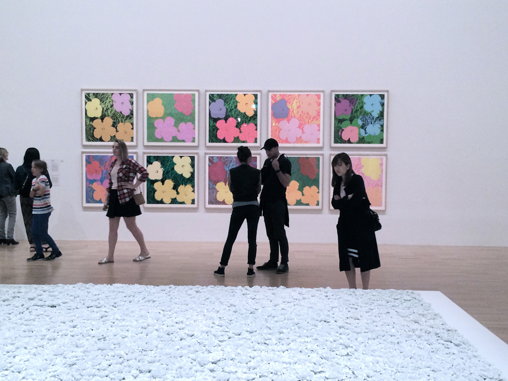 (Wall) Andy Warhol_Flowers  (Ground) Ai Wei Wei_Blossoms