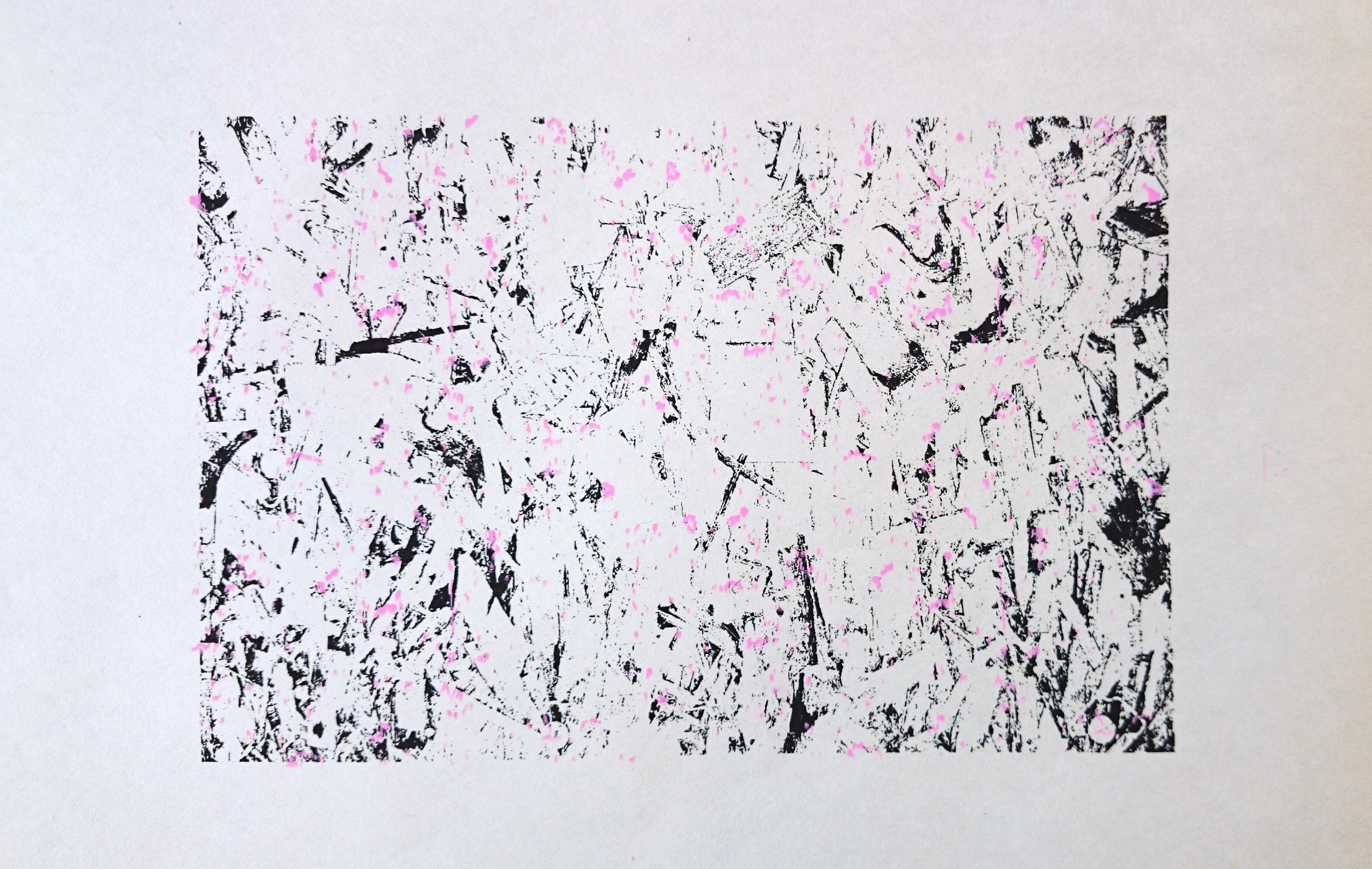 2 color black and pink screen print.