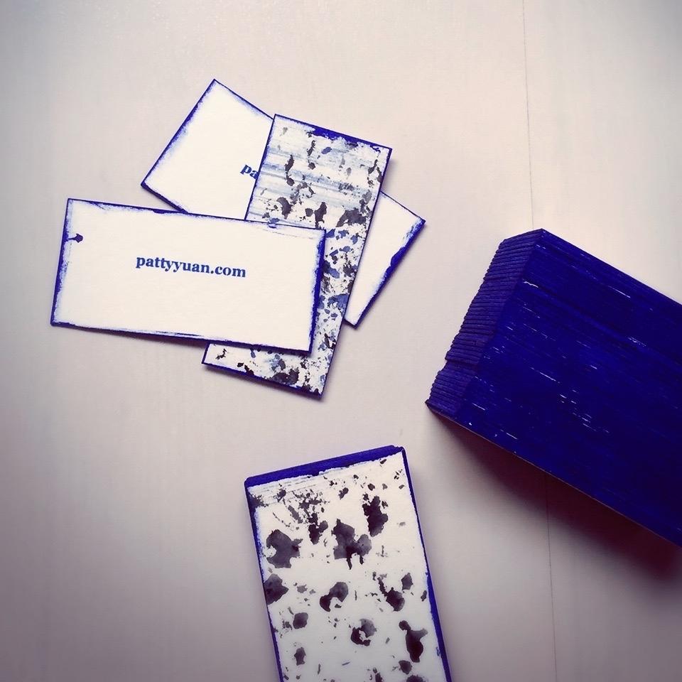 Materials:  300lb rag museum board Cobalt blue acrylic ink Black acrylic ink Cobalt blue water-based screen printing ink