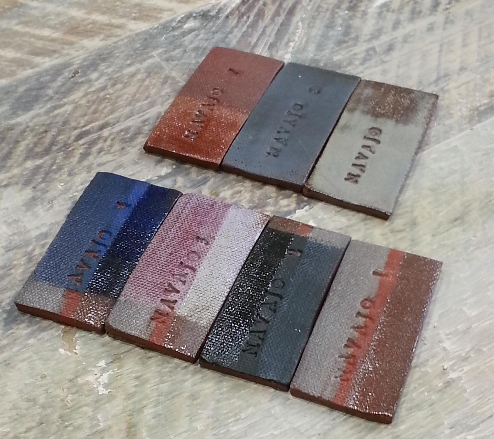 Navajo Wheel clay color test tiles -