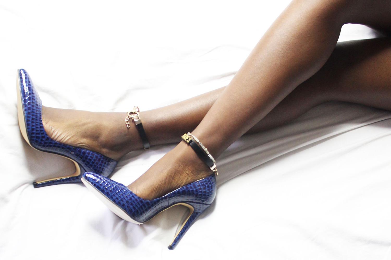 Blue mock croc heels — Mifani   Womens