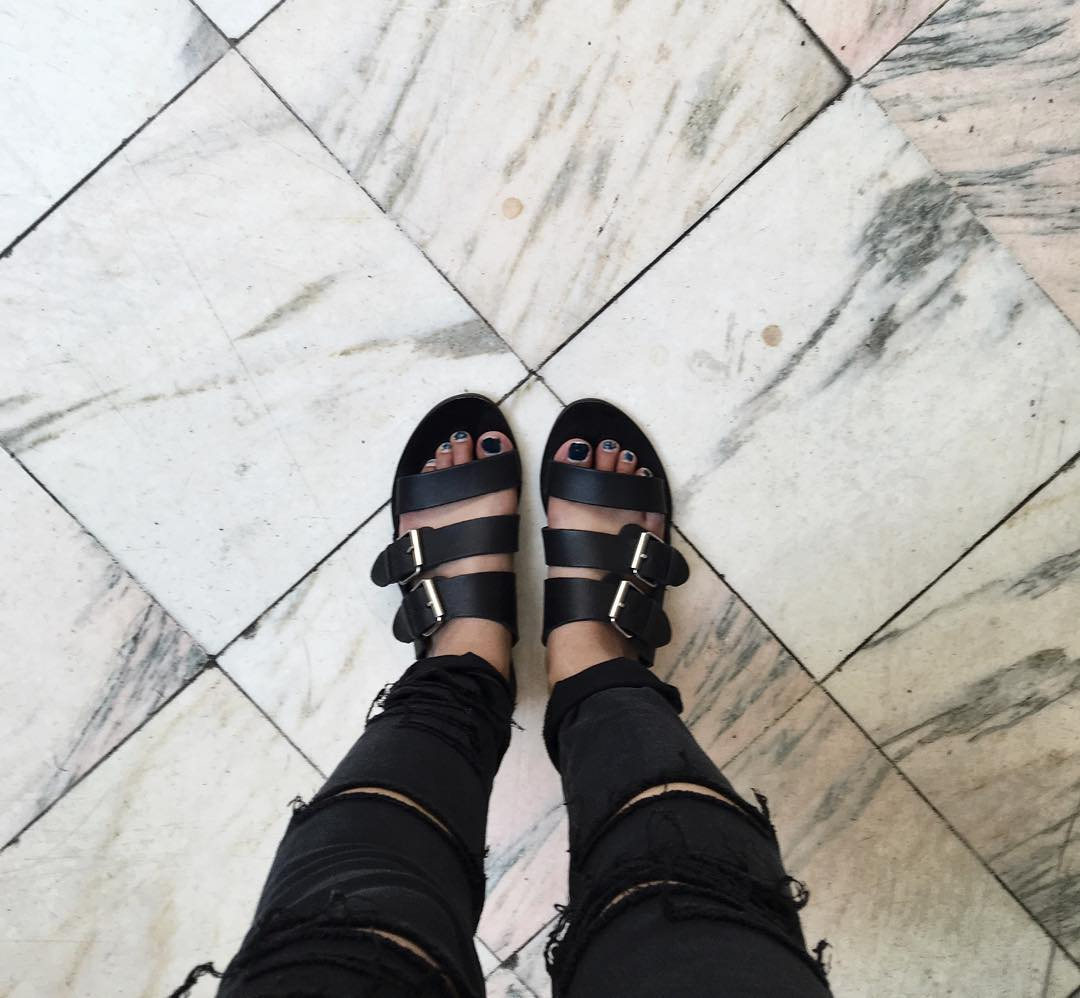 Gladiator style buckle sandals