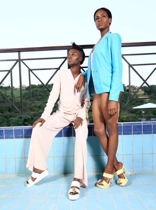 Models in ghana next to pool