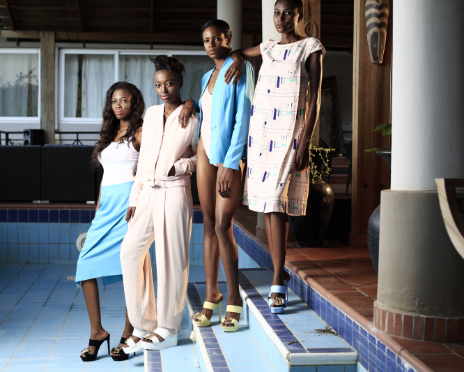 Models wearing turquoise blue