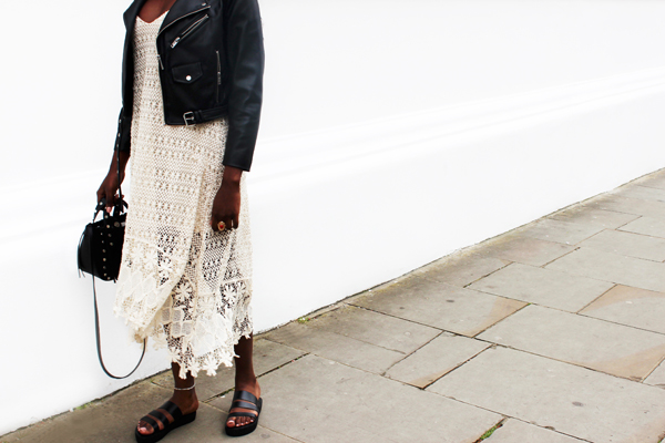 Mifani Gladiator Slide, Zara crochet dress, black biker jacket