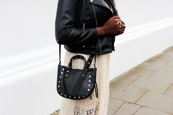 Zara crochet dress, black biker jacket