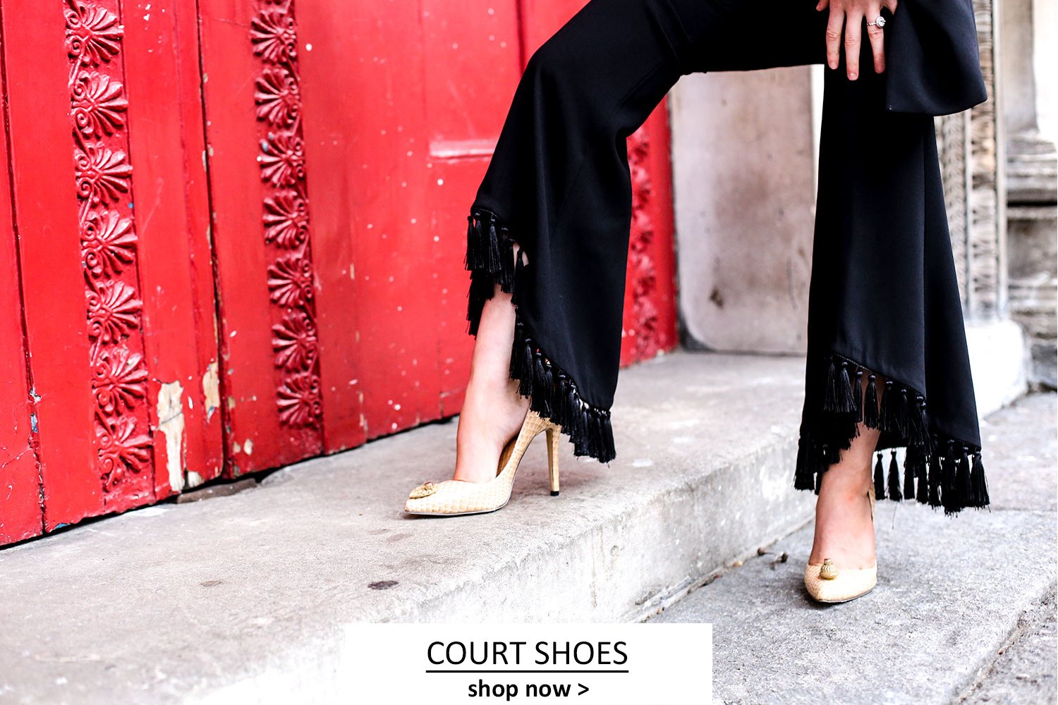Cream court shoes with gold embellishments