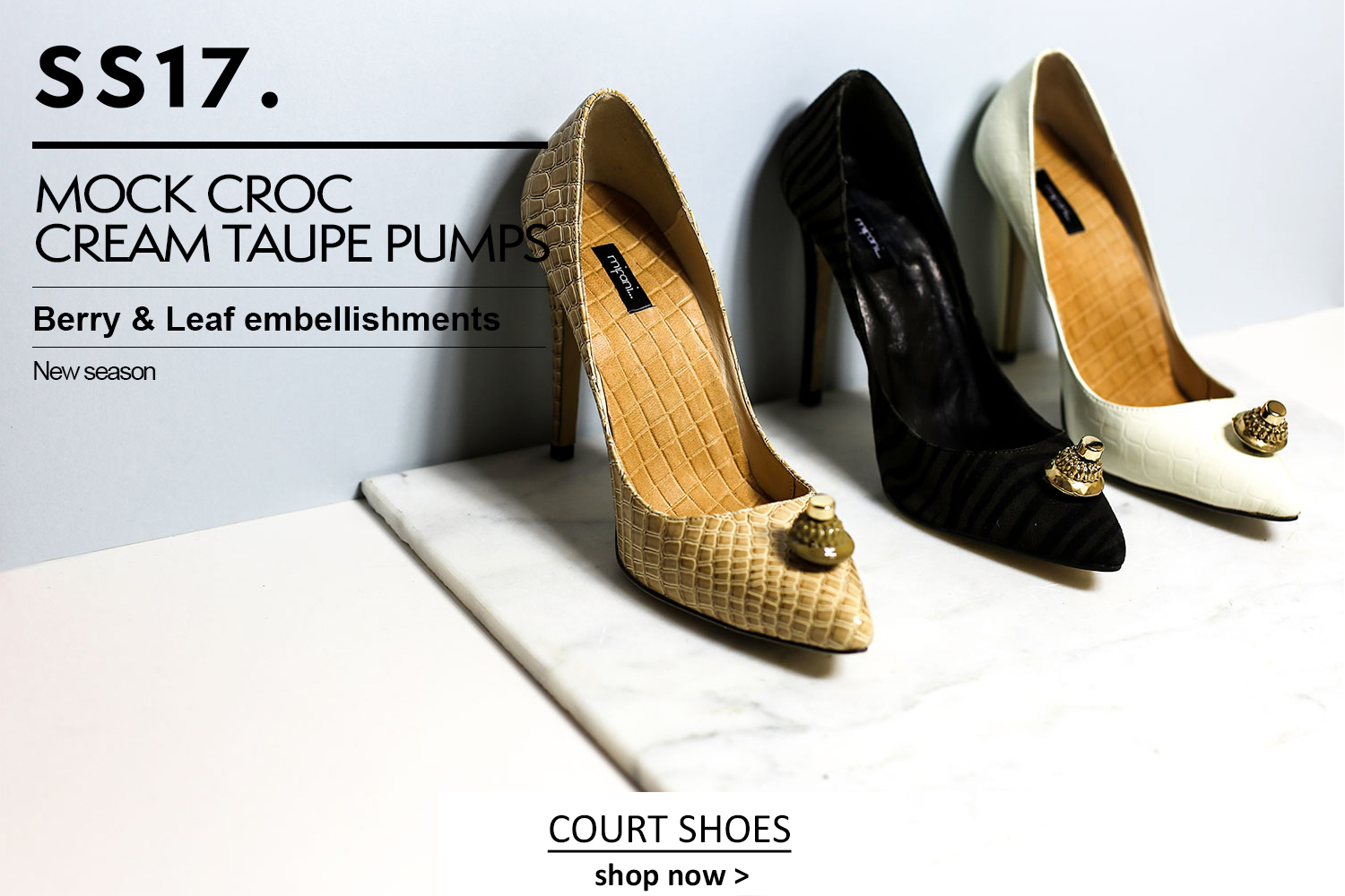 Cream court shoes, animal print court shoes, white court shoes