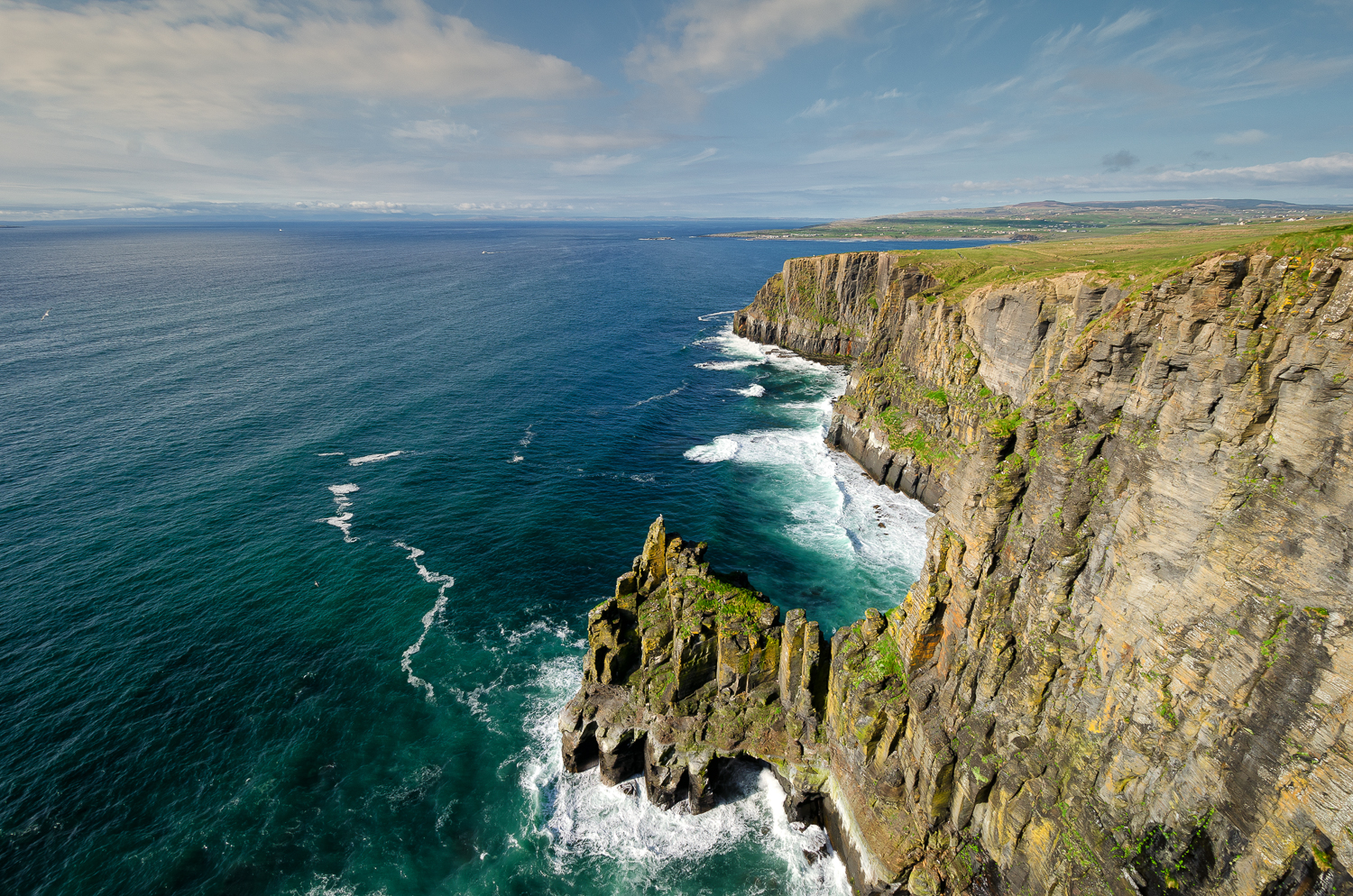 Sea cliffs on the Wild Atlantic Way between Doolin and the Cliffs of Moher