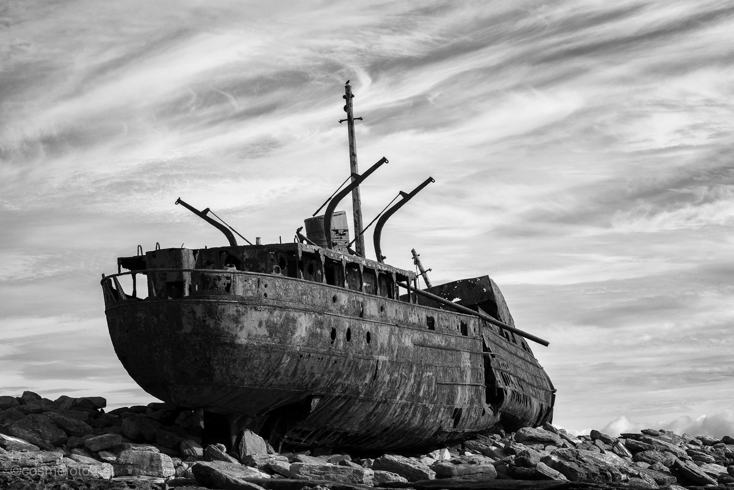 The wreck features in the opening credits of the television series, Father Ted.