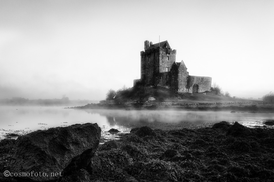 Dunguaire Castle in Kinavara, photographed on a foggy October morning