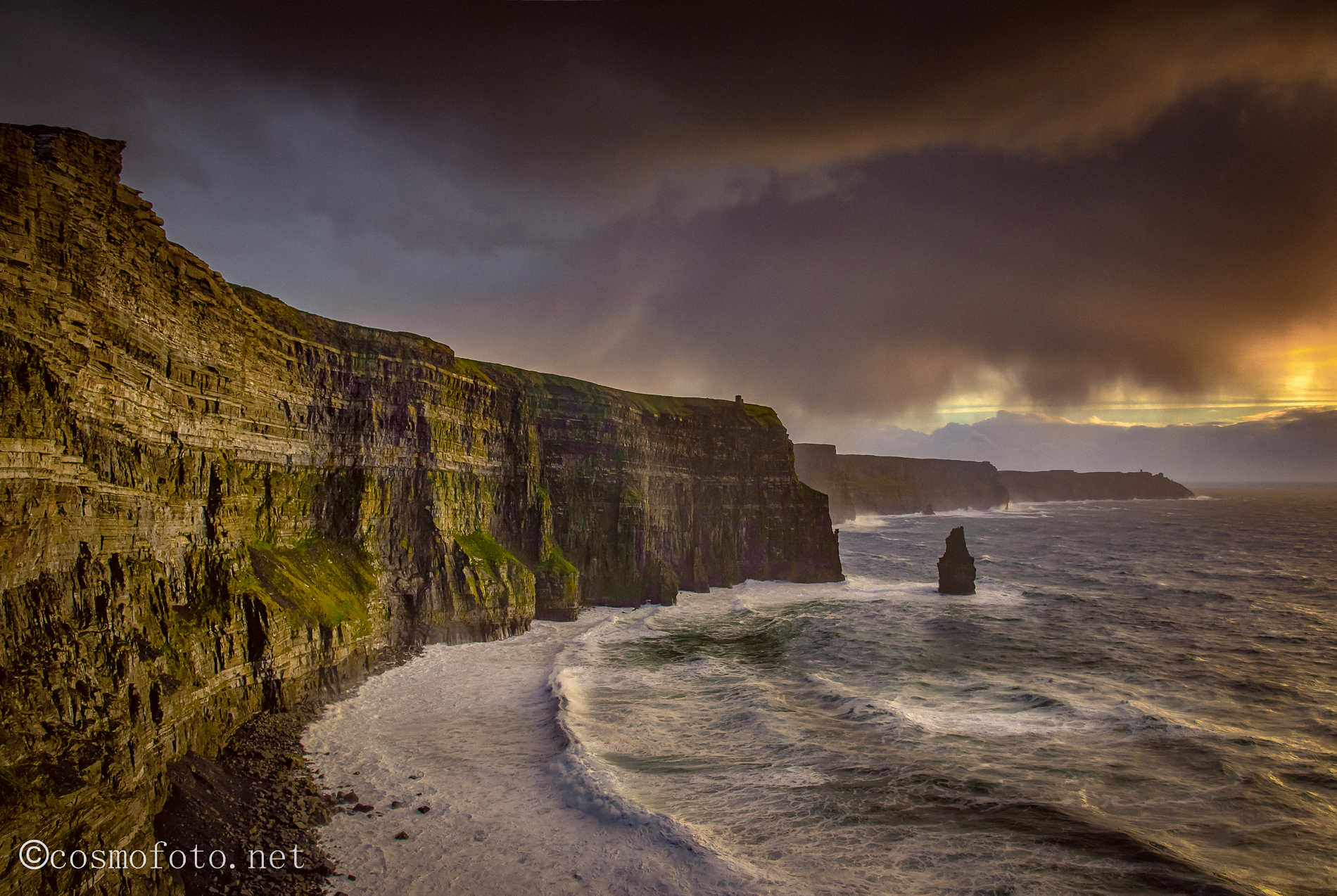 Sunset over the sea, Cliffs of Moher, Ireland