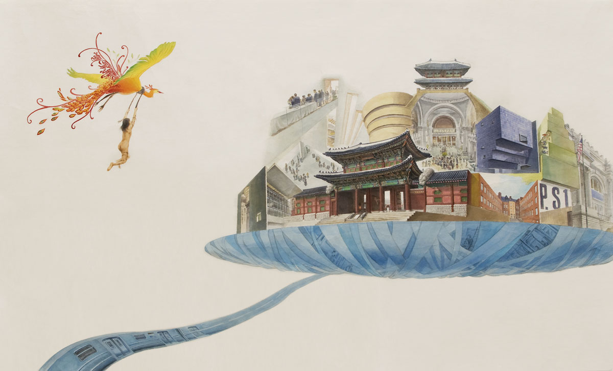"Castle in the Sky  watercolor on rice paper 34x54"" (91.5x117cm), 2009  Private Collection"