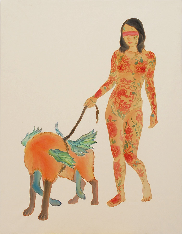 Walk With The God Of Chaos  watercolor on rice paper 36x46inch (91.5x117cm), 2009  Private Collection
