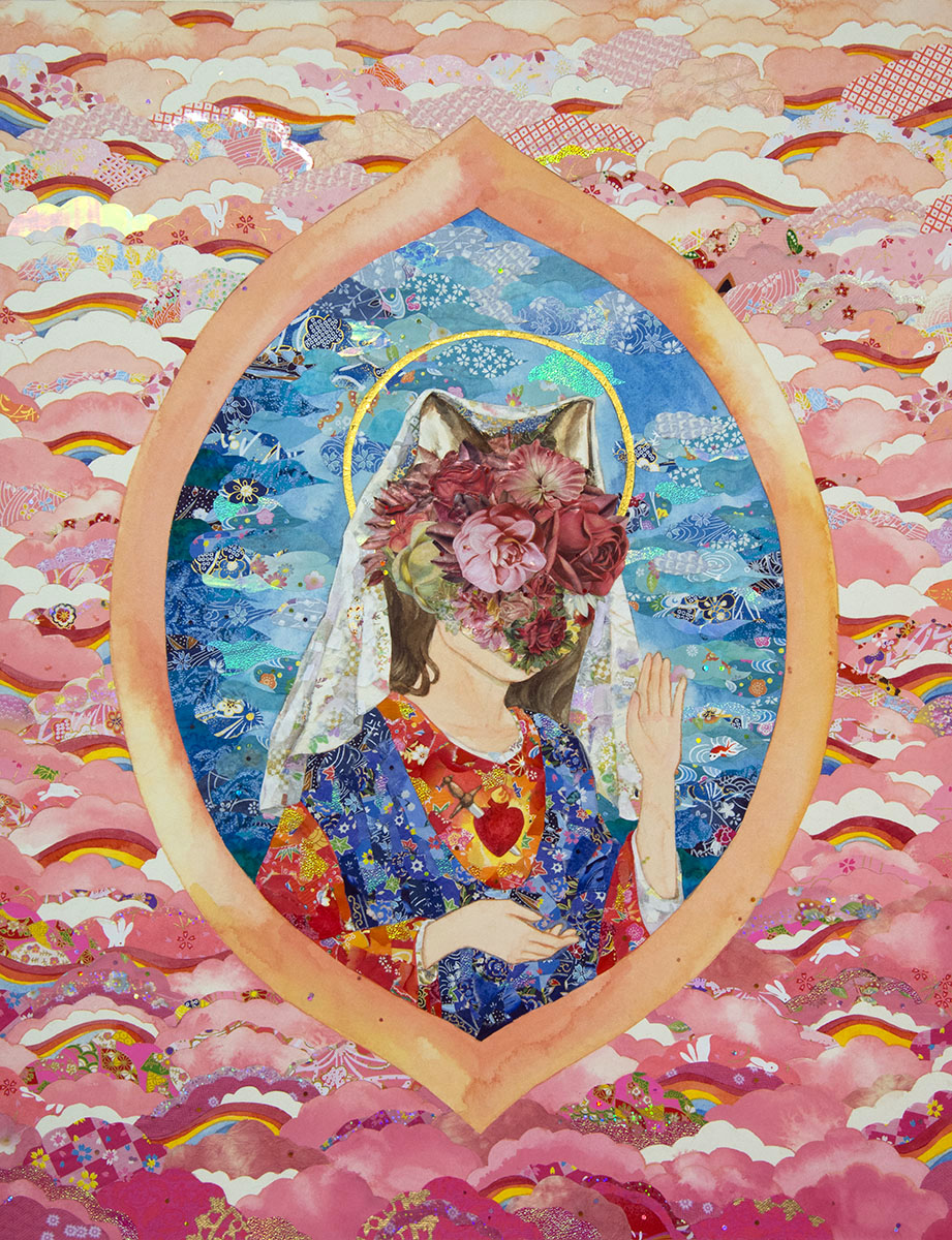 "Virgin Mary  watercolor, gouache, glitter, collage of paper and fabric on paper, 22x17"" (56x43cm), 2017"