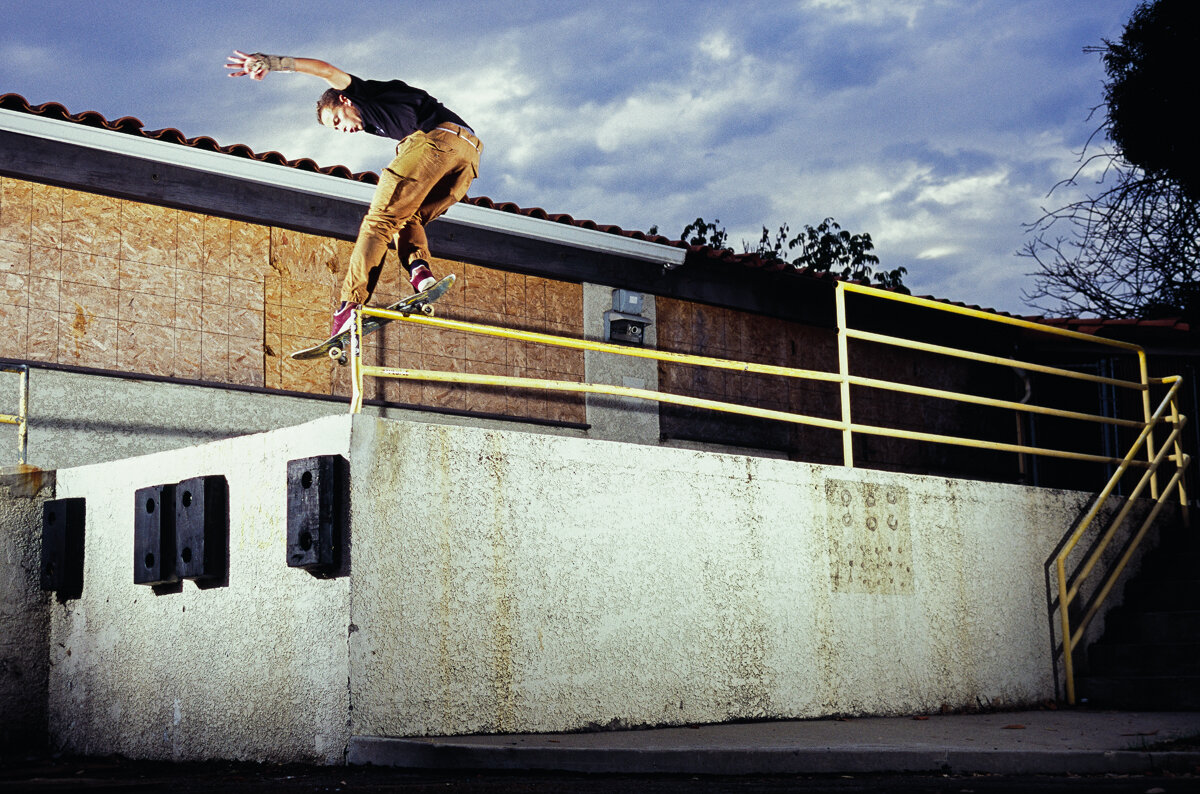 I met a bunch of ripping Portuguese skaters and hit some spots in southern Orange County in 2017. Gustavo Ribeiro was one of them and this flat bar to drop in San Clemente, California was quickly handled.