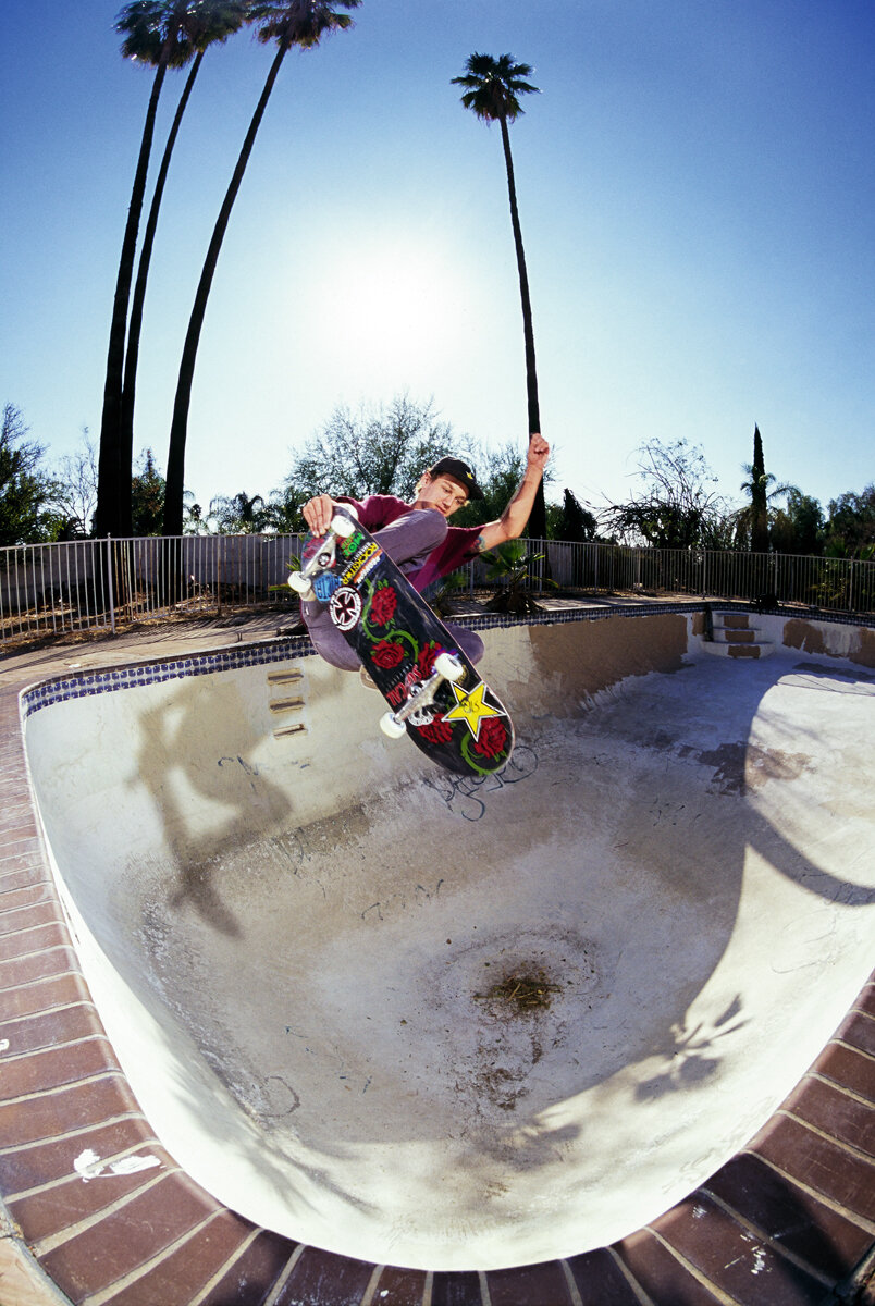 """If you grow up in the area of Southern California known as the Badlands you better have some backyard pool skills. Tristan Rennie has a lot more than """"some"""" and I might even consider him one of the best to ever do it. Bold statement I know but the way he handles his shit in most backyard pits is incomprehensible. Tailgrab flatwall to flatwall around the corner in San Bernardino, California."""