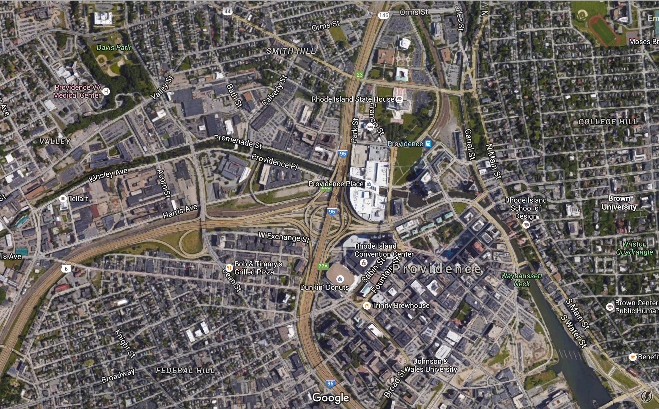 The area in question, pretty much dead center of Providence.
