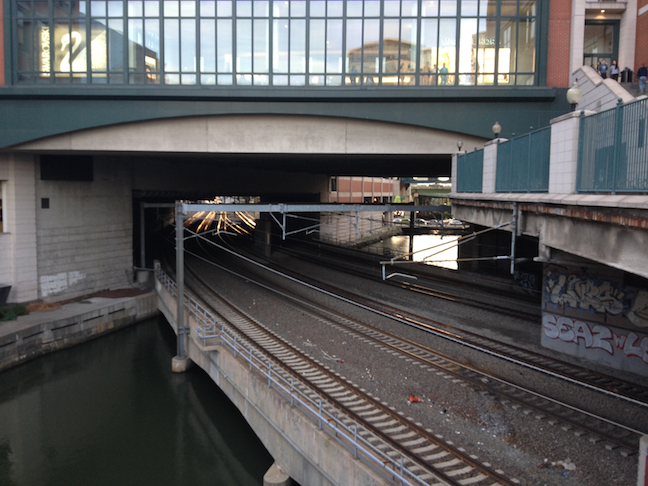 The mall, the train, and the river: Downtown Providence