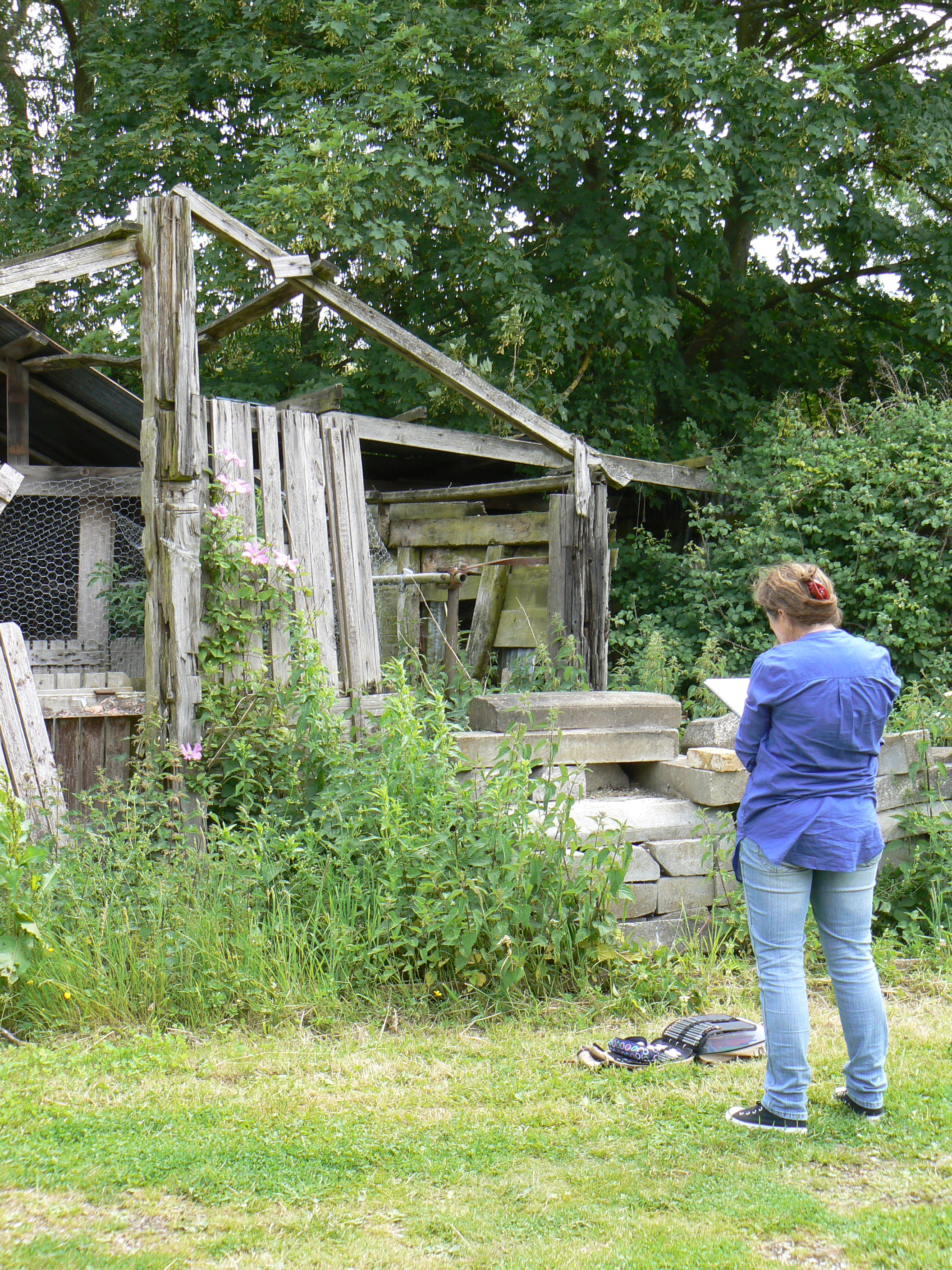Wingrave Art Club visit.........observing clematis on one of the old outbuildings.