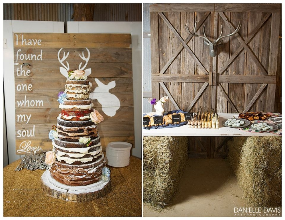 Danielle Davis Art/Photography . This is from  Emily and Blake's  wedding at The Barn just this past Saturday! The Barn team doesn't mess around when it comes to details! The gorgeous naked cake and desserts were made by  TheCakePlace . They're seriously the best.
