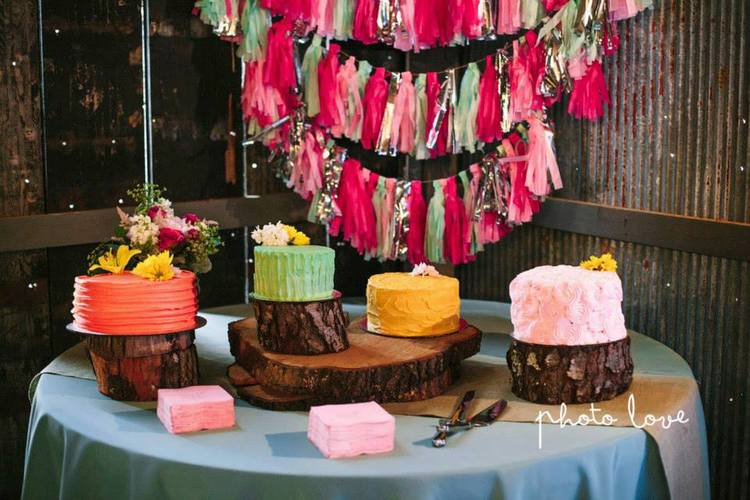 So this one is still cake, but it's a little different! A deconstructed cake, in all different colors, like these from  Ashley + Derrick 's wedding at The Barn is so cute. Photo by  Photo Love Photography . These were made by  theCakePlace .