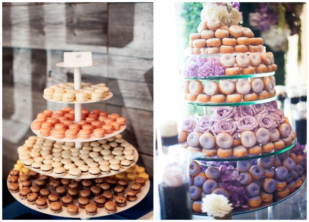 A fancy  macaron tower ! And a stunning ombre  donut display .