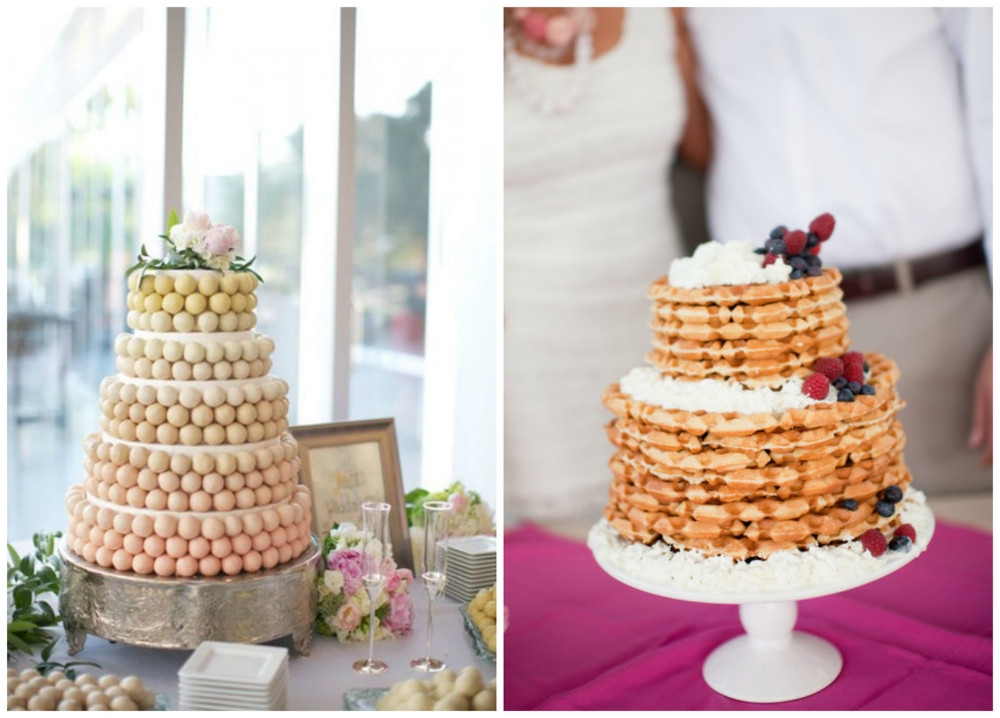 Cake pops  in the prettiest color palette. And a totally genius  waffle cake , complete with syrup, of course!