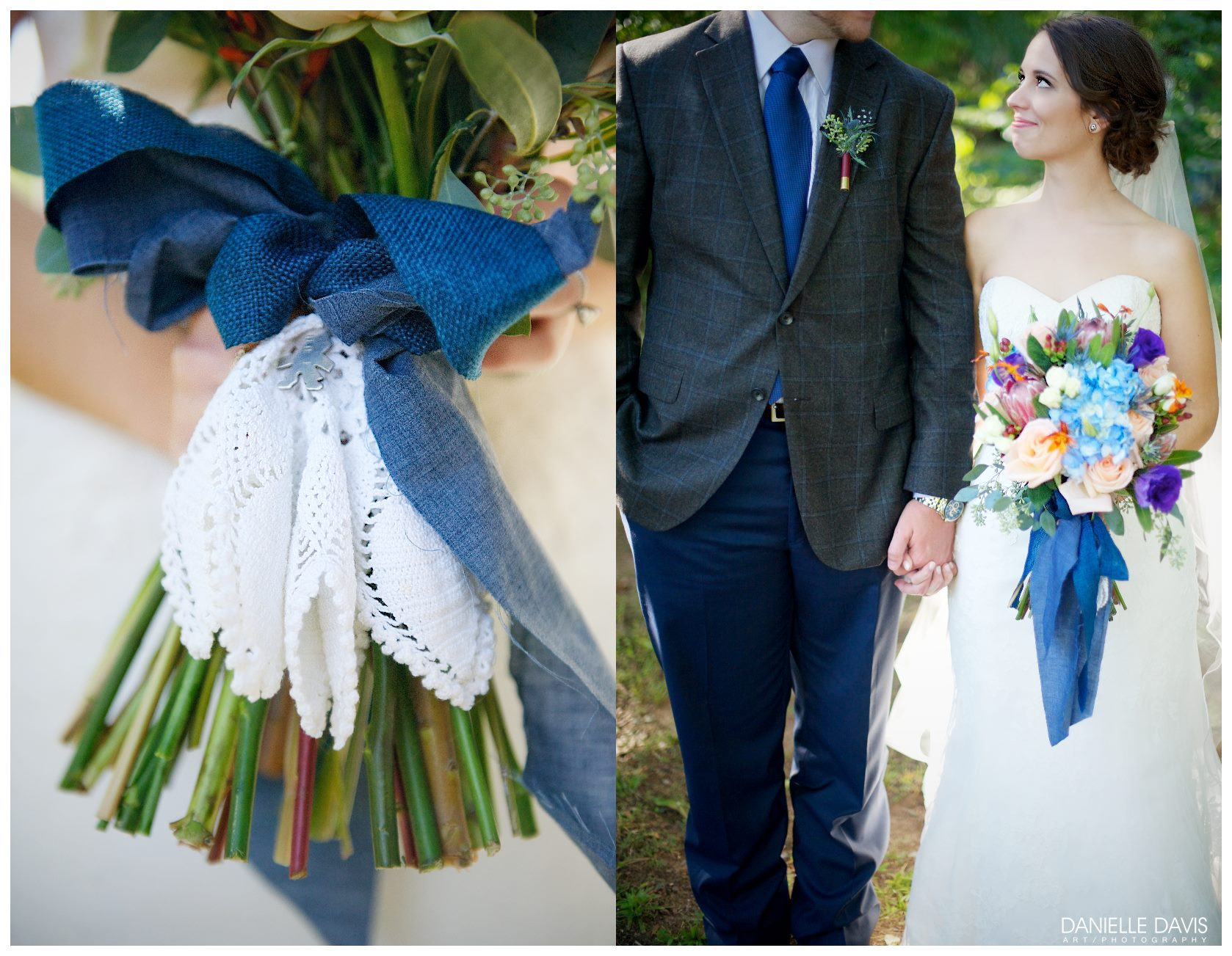 Danielle Davis Art/Photography , from Emily + Blake's wedding at The Barn. Protea and chambray are two other elements I'm LOVING for 2015 weddings!