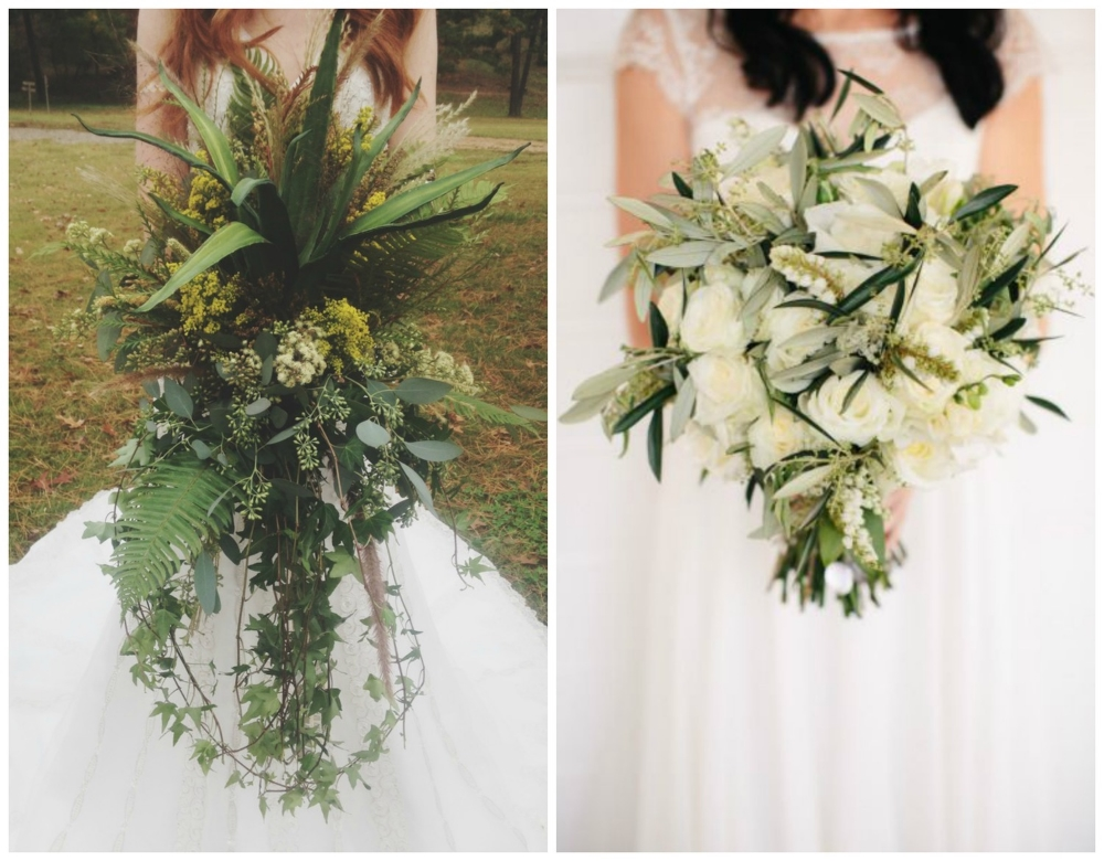 The bouquet from our  Native American Heritage Styled Shoot  was ridiculously awesome... and it weighed like 15 pounds. This white and green bouquet from  Style Me Pretty  is perfect for a winter wedding!