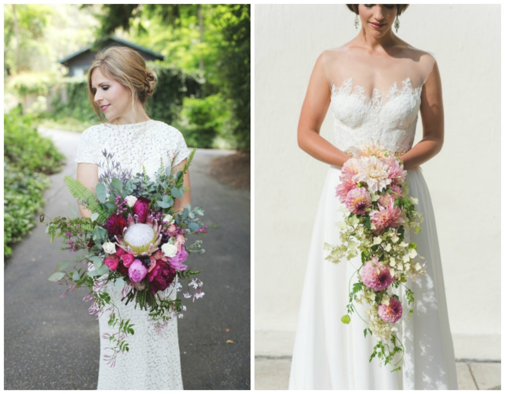 Style Me Pretty ;  Style Me Pretty . These are my favorite bouquets I've seen in a long time! Those colors and shapes! Major swoonage (which is totally not a word, but it should be).