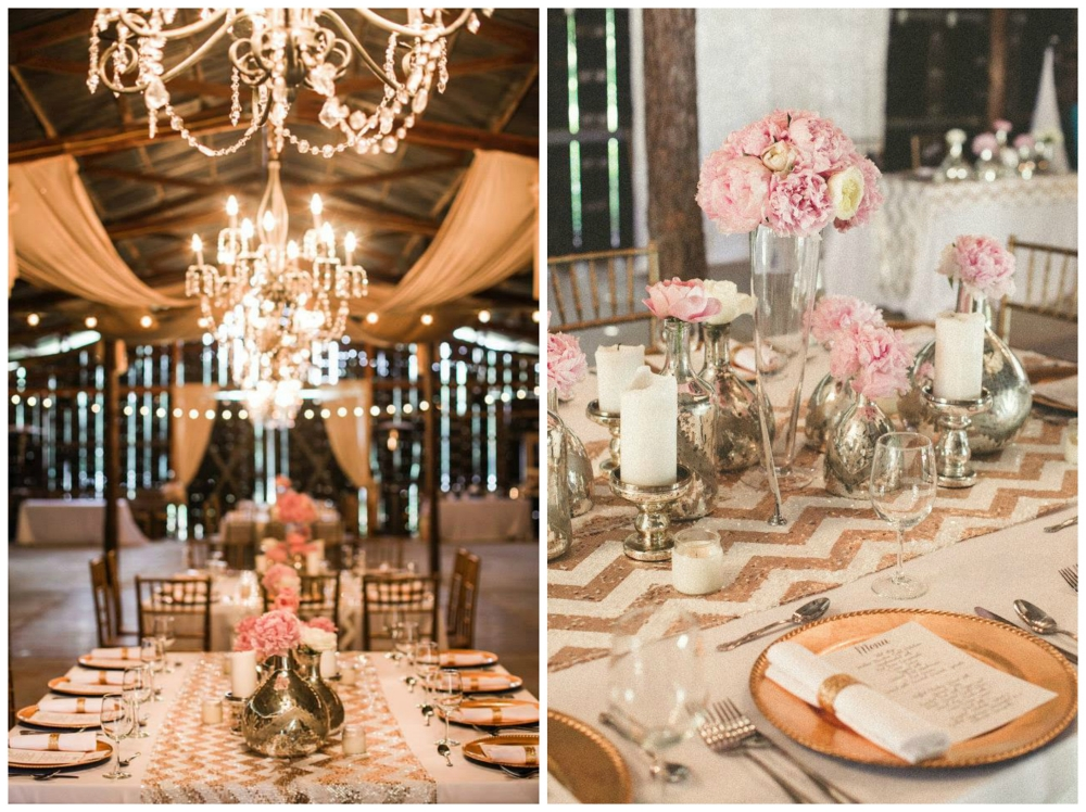 Twin Town Studios .  Nikki + Scott 's sparkly pink and gold wedding was one of our most talked about from 2014. And rightfully so! This wedding had it all: sequins, chevron, peonies, a beautiful drink display, a pink candy buffet and a seriously stunning couple. Love!