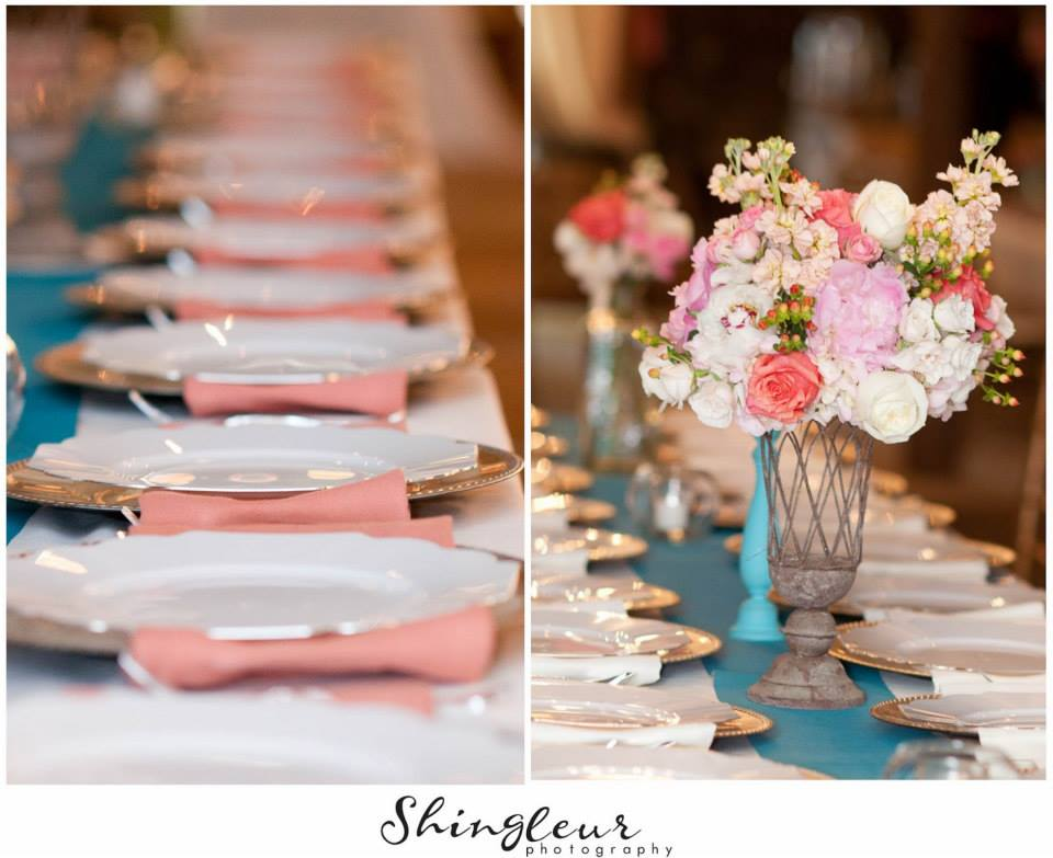 Shingleur Photography .  Brittany + Jacob 's coral and blue wedding was so lovely! Their satinaltar was insanely pretty, and their color scheme had a fun, beachy vibe that we just love.