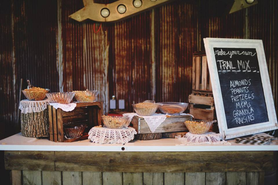 Stephanie Parsley Photography .  Samantha + Danny 's trail mix bar was creative, and it made for the perfect favor!