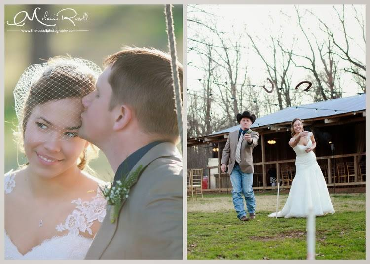 Russell Photography , from  Emily + Mark 's wedding. Even the bride and groom enjoy playing a few games on the lawn! :)