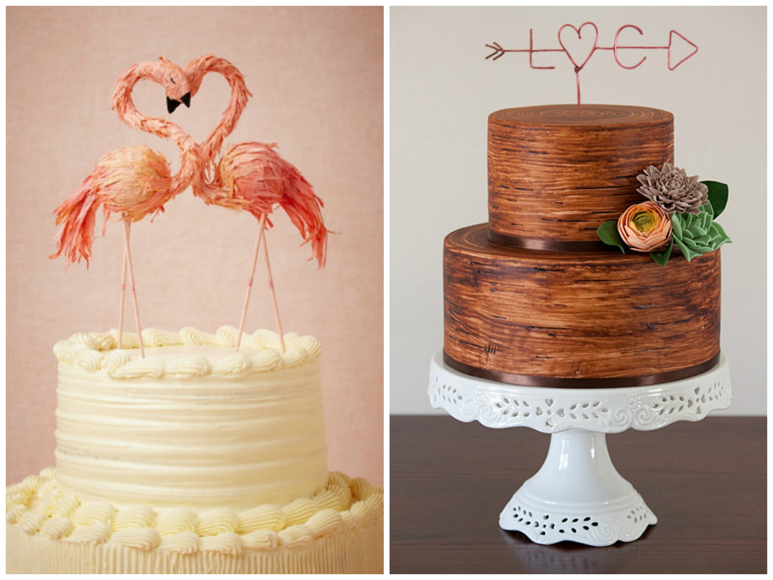 The  Flaming Flamingo  cake topper ($138) from  BHLDN  is quirky and so. darn. precious. It would be so cute on a pink cake, or for a fun, colorful summer wedding! The  arrow topper  ($16.99+) is from  Le Rustic Chic and it's available in lots of fun colors.