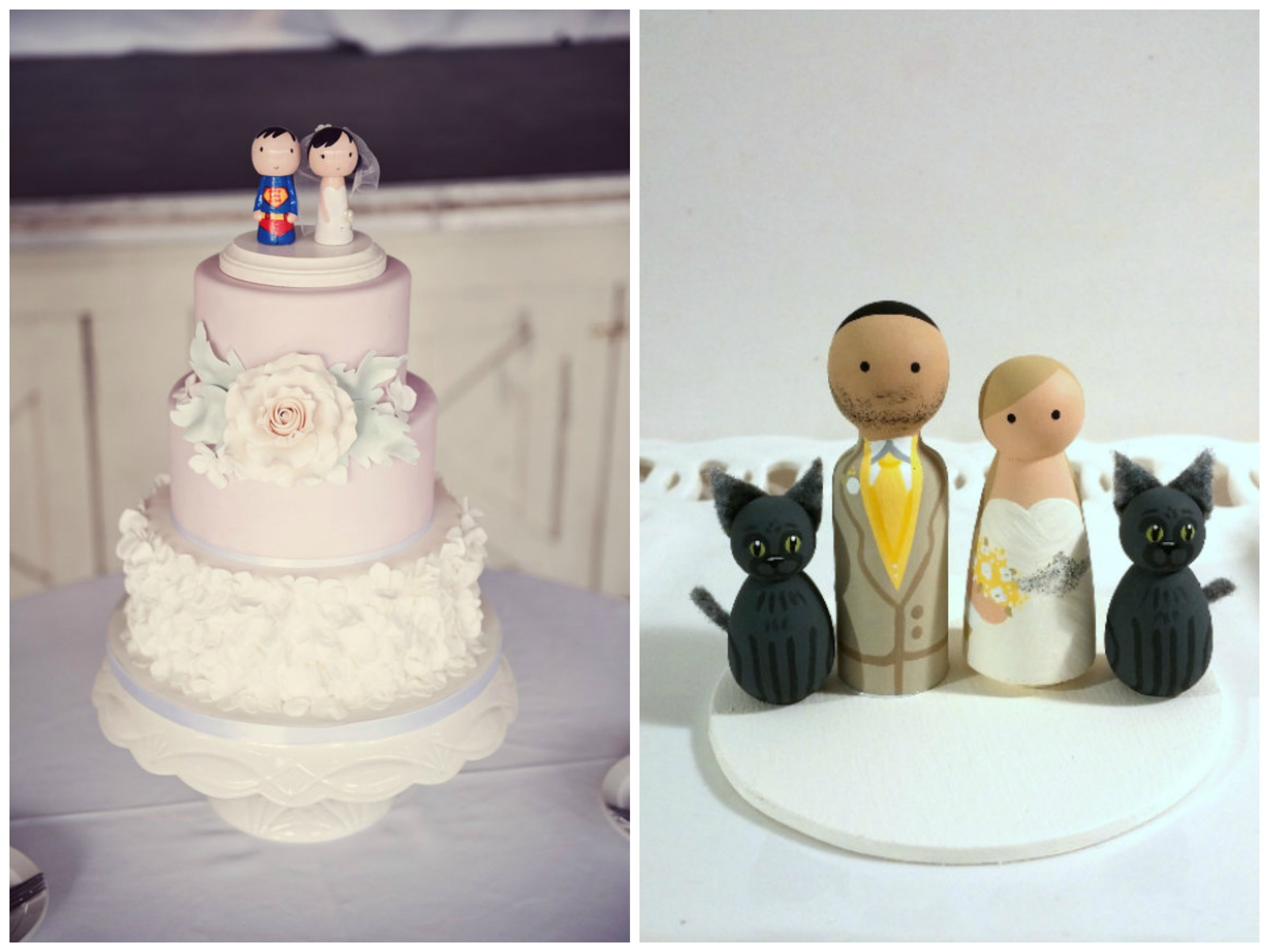 Etsy has no shortage of  peg doll cake toppers . They're extremely customizable, and you can get them in a whole bunch of themes: military, superhero, lots of different occupations, with children, with pets, etc. This  superhero and his bride ($90) from  Sugar Plum Pegs  are so precious! And don't even get me started on  this bride and groom with two cats ($98) from  Enamor Weddings .