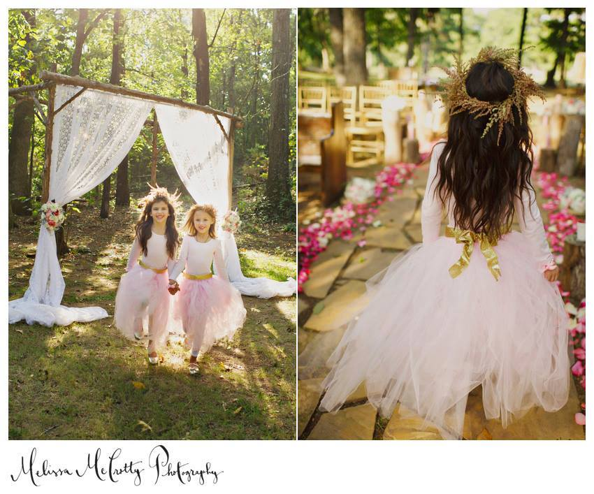 Melissa McCrotty Photography , from  mine + Richard 's wedding at The Barn. Our floral designer, Ginger, made my flower girls the cutest astilbe flower crowns. I have one hanging in my dining room, and it still makes me smile! <3