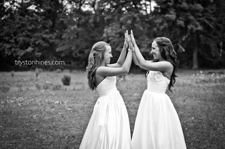 Tryston Hines Photography . Twin brides! It doesn't get more fun than this.
