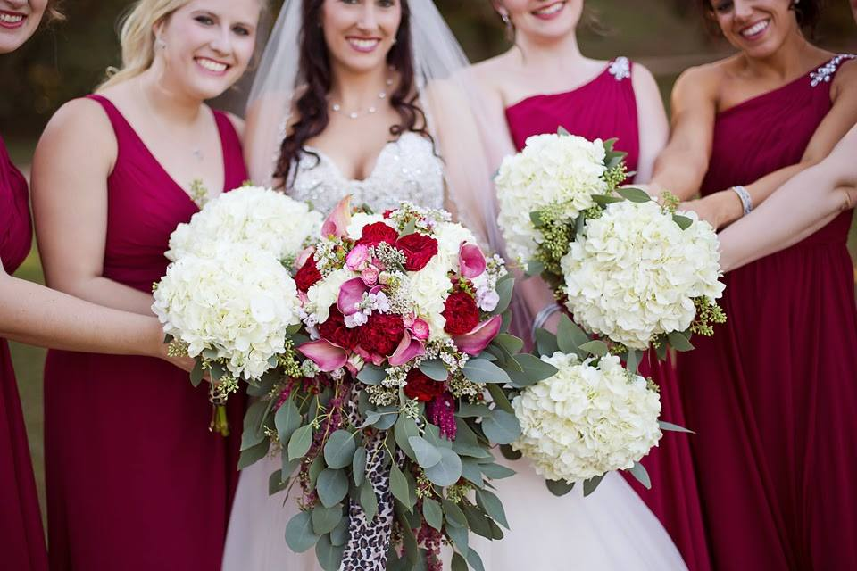 KMWarford Photography , from  Bethany + Jamie 's wedding at The Barn. A pop of leopard print makes a bouquet extra pretty!