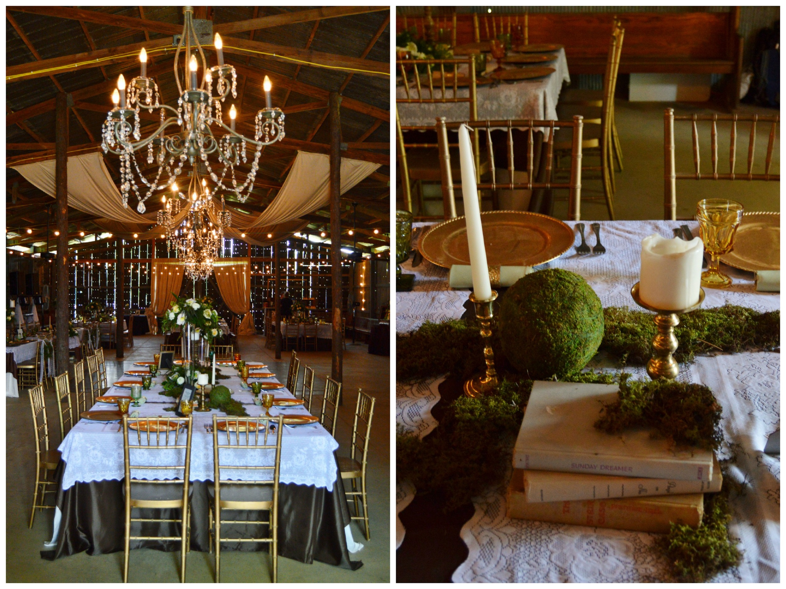 Beautiful moss, lace, vintage book and candle details.