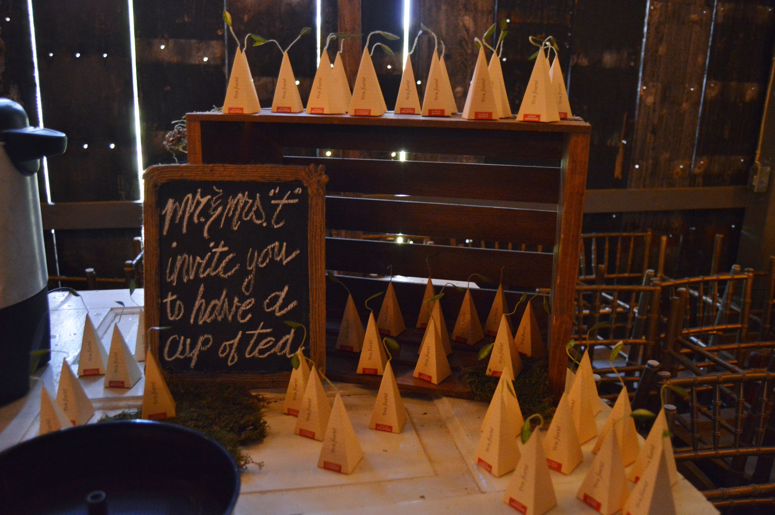 Kelsey + Gueorgui 's wedding also had a cute tea bar!