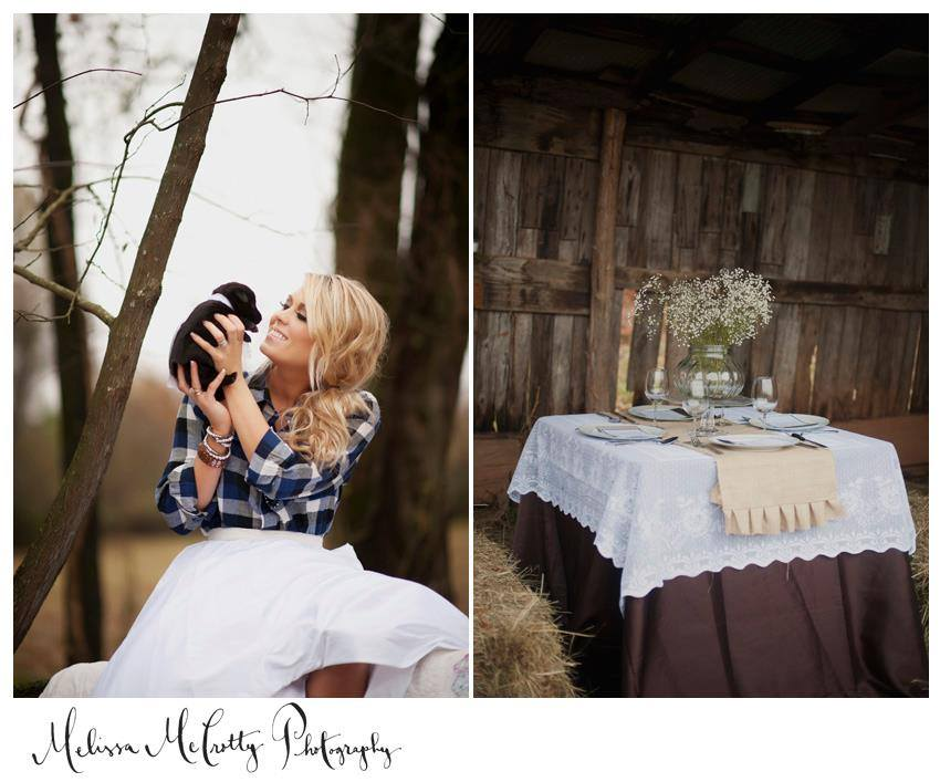 Melissa McCrotty Photography , from our  Fall 2012 styled shoot . A bride in plaid + a cute puppy! It doesn't get much better.