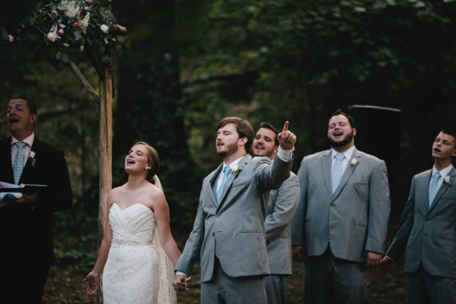 Cottonwood Studios Worldwide , from  Ally + Tyler 's wedding. This couple had their church's band come out to The Barn for a praise and worship session during their ceremony. A detail like this tells so much about a couple and where their hearts are!
