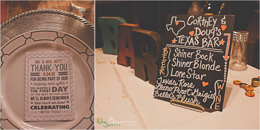 Liz Chrisman Photography , from  Cortney + Doug 's wedding. This couple looooves them some Texas, so they had Texan details representing all over The Barn! Texas stars, steak rub favors from their favorite Texas steakhouse, and beer and wine, all from Texas. It was awesome!