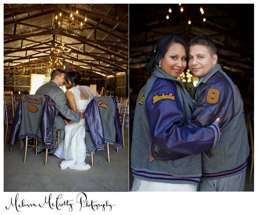 Melissa McCrotty Photography , from  Michelle + Chad 's wedding. If you and your love were high school sweethearts, bring something from your high school days! These letterman jackets are a sweet nod to the early days of their relationship.