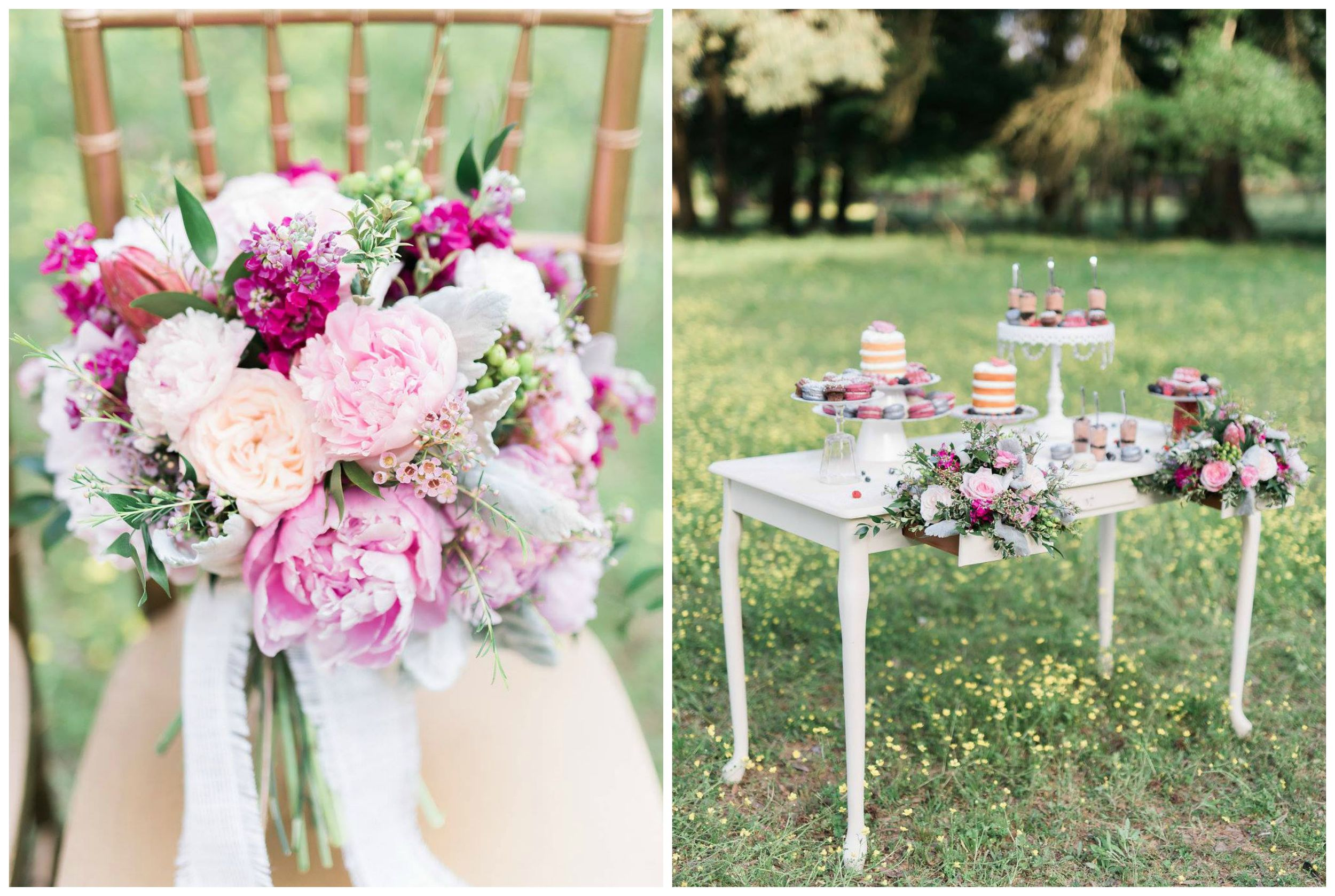 Stephanie Dawn Photography . Our  Magical Meadow  styled shoot is number one in my heart, probably forever. I adore  every  detail from this shoot, from the bouquet to the dessert table and the pretty cocktails to the stunning gowns.