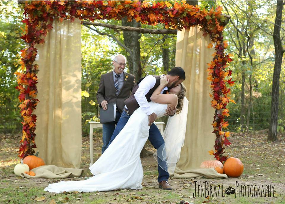 Jen Brazil Photography , from  Cathryn + Tyler 's wedding at The Barn. This wedding's theme was 100% fall. Fall colors, fall leaves, pumpkins, burlap, a bride in plaid... it was fantastic!