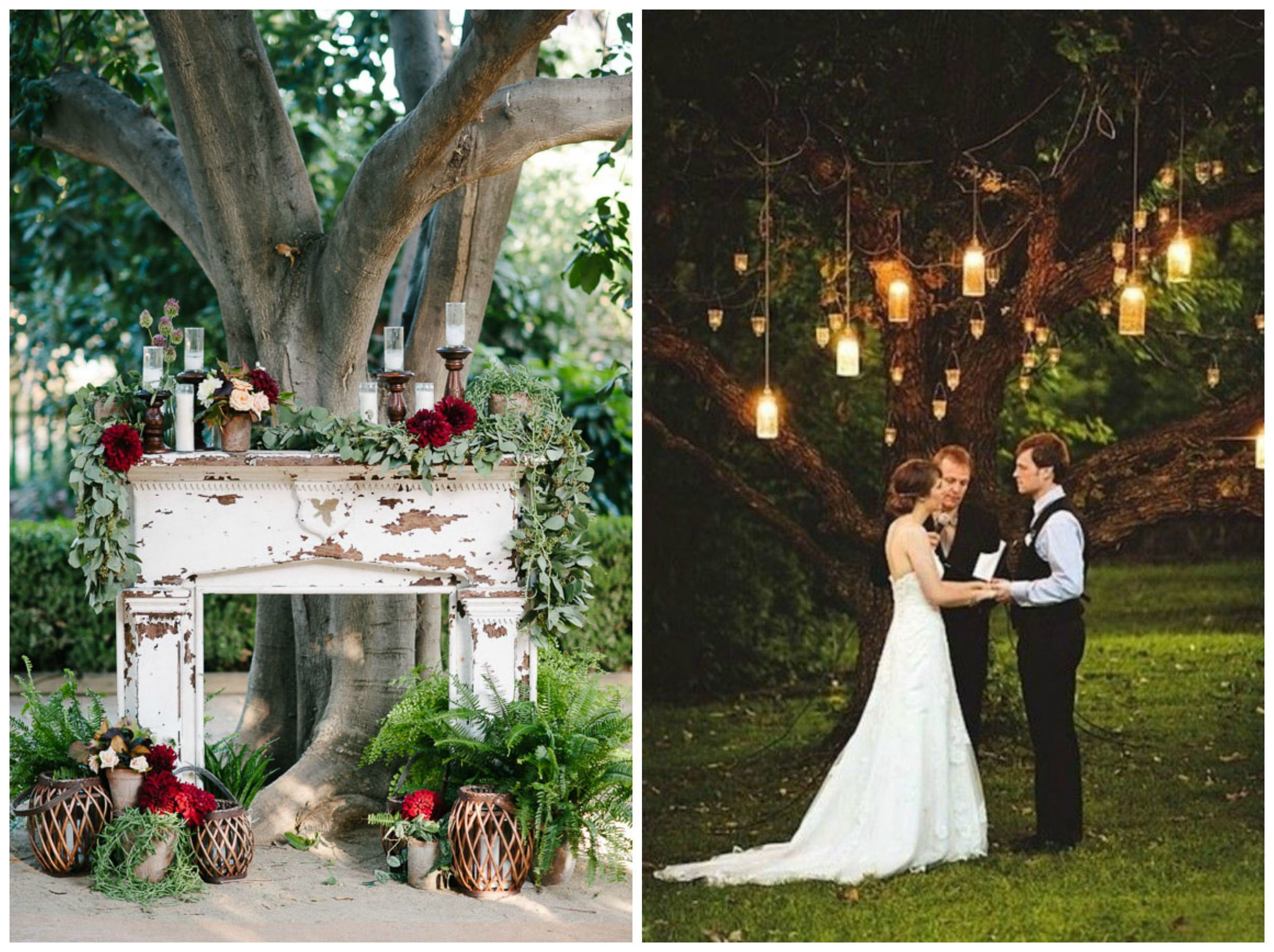 Green Wedding Shoes ;  WeddingBells . Both a rustic fireplace and simple hanging jars with candles are perfect backdrops for a fall ceremony.